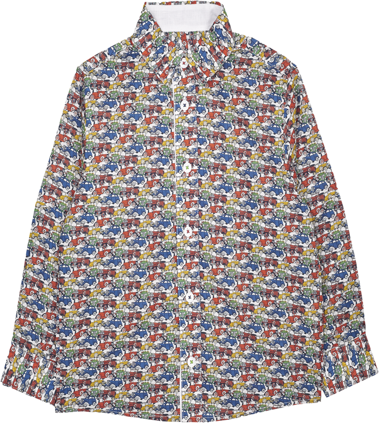 Boy - Oliver 100% Cotton Classic Collar Shirt With Travel Prints