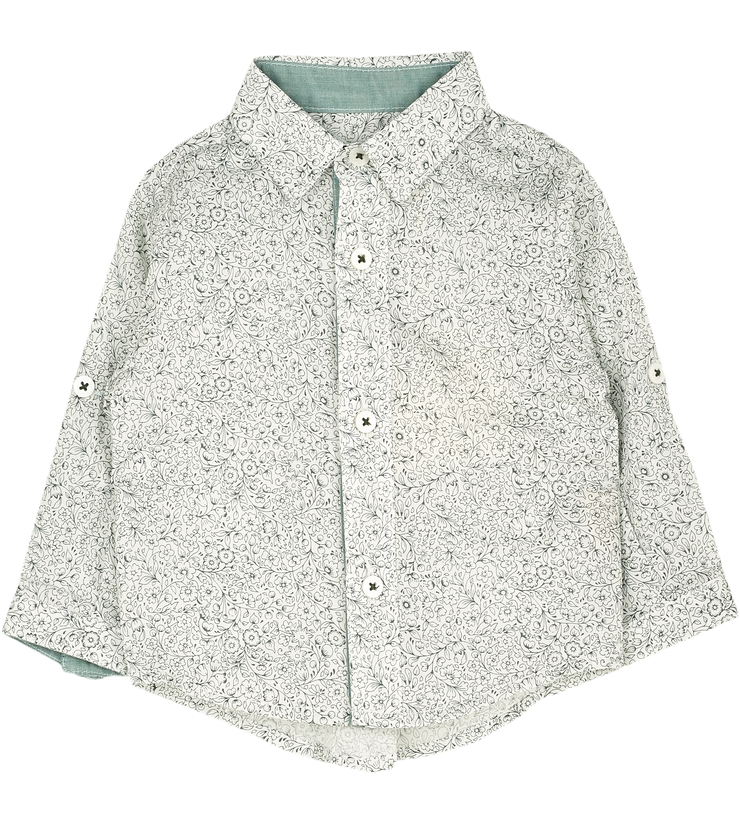 Baby Boy - Oliver 100% Cotton Classic Collar Shirt With Floral Prints