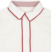 Baby Boy - Cotton Classic Collar Shirt With Internal Contrast And Double Piping And Pocket