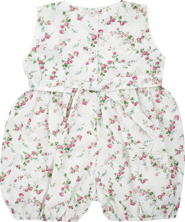 Baby Girl - Hand Embroidered 100% Cotton Sleeveless Romper With Smocked Panel