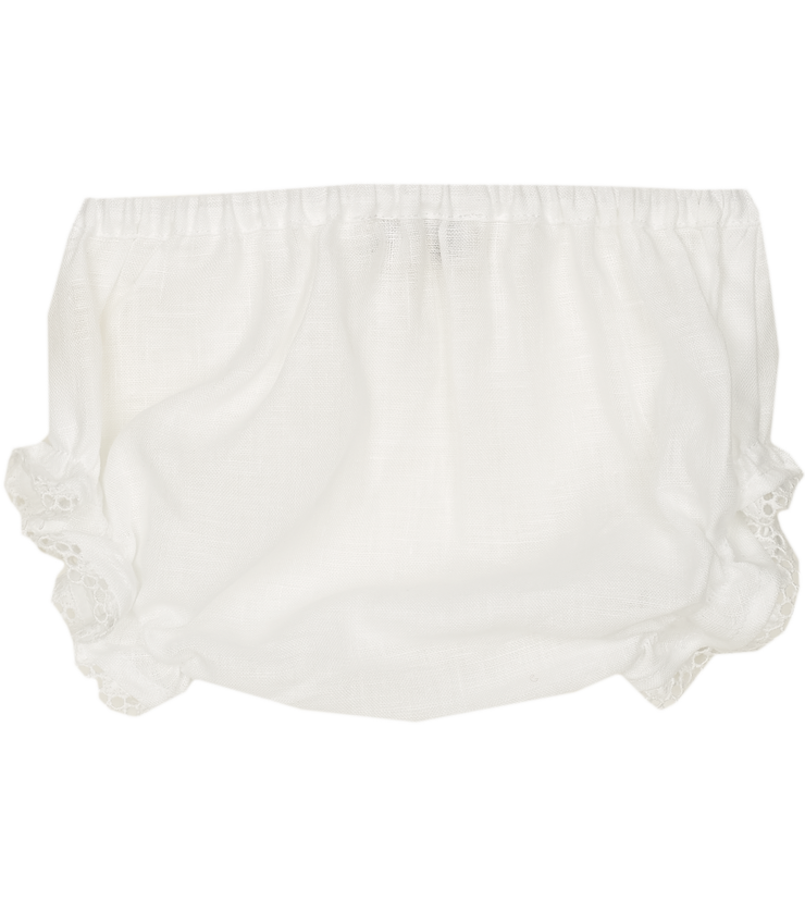 Baby Emilia - Linen lace detail bloomers