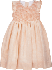 Girl - Elvie Linen Smocked Dress With Embroidered Flowers and Frill Sleeves