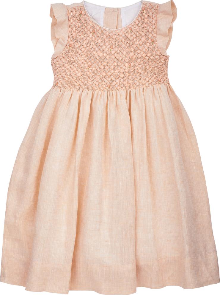 Girl - Elvie 100% Linen Smocked Dress With Embroidered Flowers
