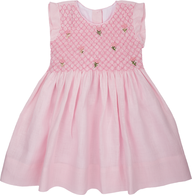 Baby Girl - Elvie Linen Smocked Dress With Embroidered Flowers and Frill Sleeves