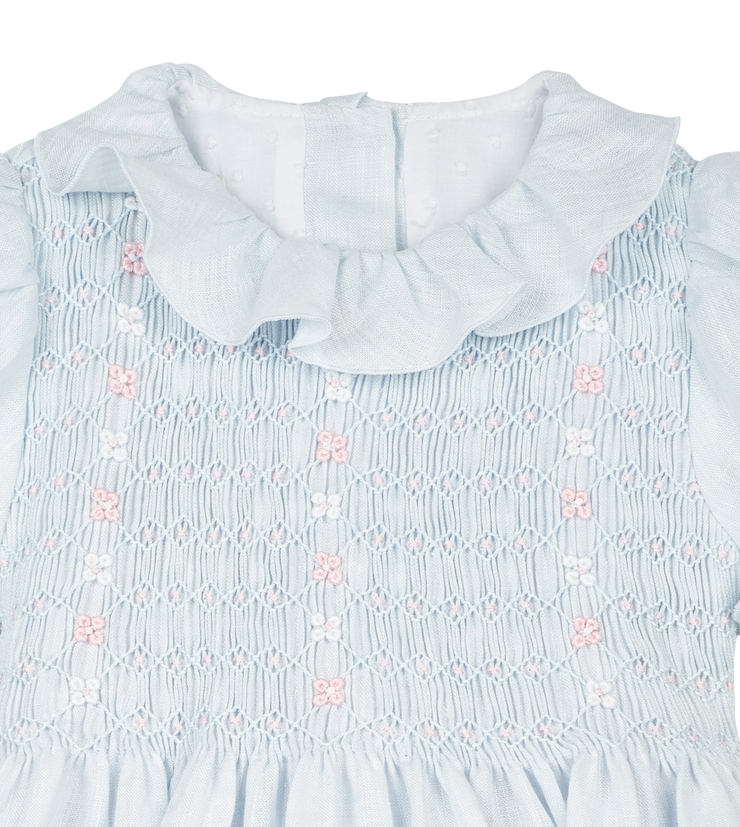 Girl - Azzurra - Linen Smocked Dress