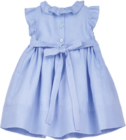 Baby Girl - April Linen Smocked Dress With Ruffle Collar And Floral Embroidery