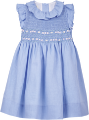 Girl - April Linen Smocked Dress With Ruffle Collar And Floral Embroidery