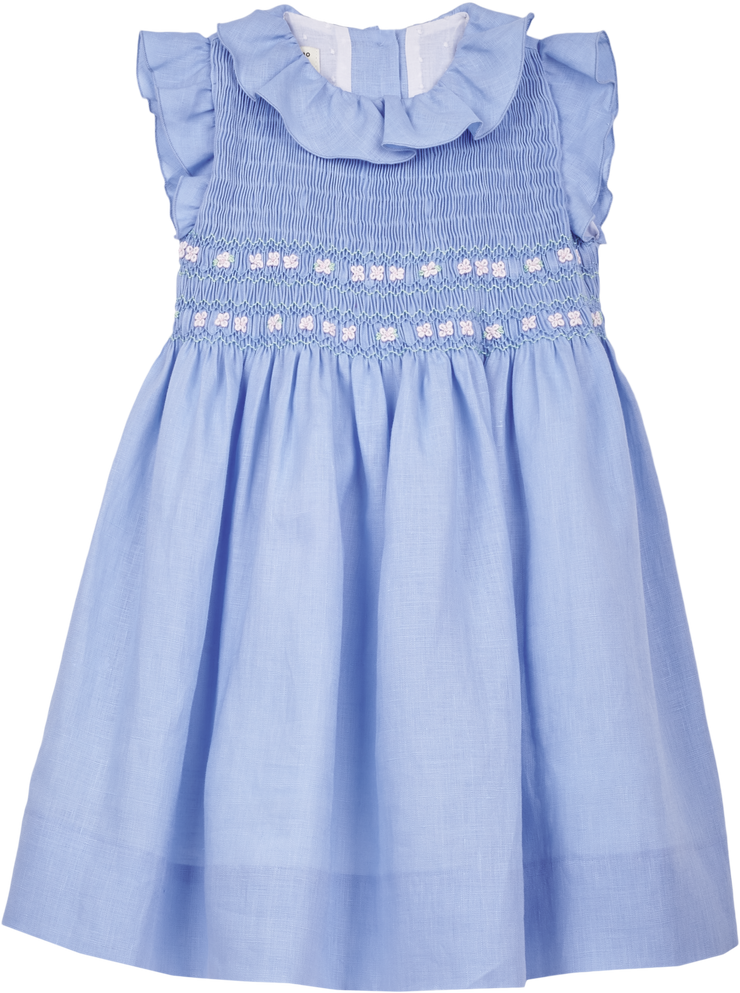 Girl - April Linen Smocked Dress With Ruffle Collar