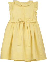 Girl - Linen Smocked Dress With Ruffle Collar And Daisy Embroidery