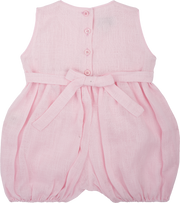 Baby Girl - Linen Sleeveless Romper With Smocked Panel And Floral Embroidery