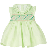 Baby Girl - Anna Hand Embroidered 100% Linen Smocked Set in Lime Green