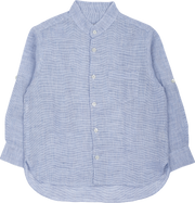 Boy - Linen Grandad Collar Shirt With Pocket