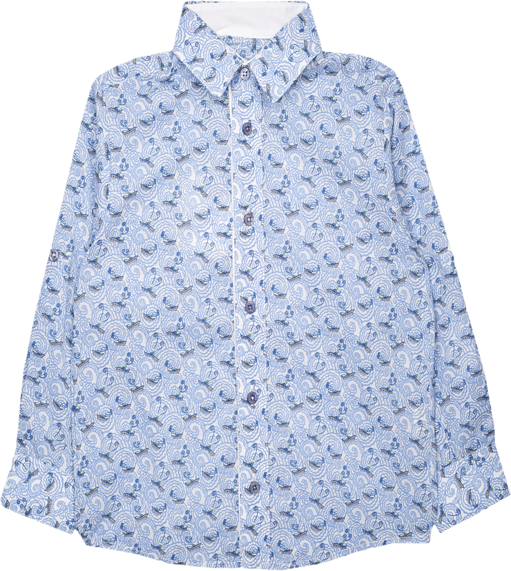 Boy - Oliver 100% Cotton Classic Collar Shirt With Sea Prints