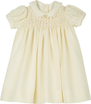 Baby Girl - Wool Christening Dress With Smocked Panel and Hand-embroidered Collar