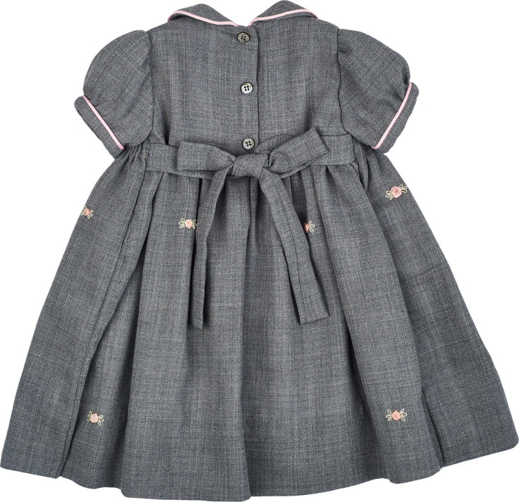 Baby Girl - Wool Smocked Midi Dress With Peter Pan Collar And Floral Embroidery