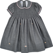 Baby Girl - 100% Wool Smocked Midi Dress With Peter Pan Collar And Floral Embroidery