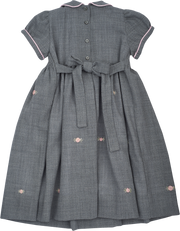Girl - 100% Wool Smocked Midi Dress With Peter Pan Collar And Floral Embroidery