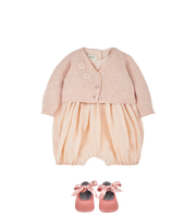 Baby Girl - 100% Pima Cotton V-Neck Shrug With Applique Flower Detail