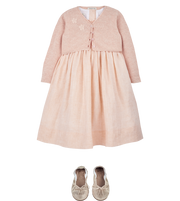 Girl - Elvie Linen Smocked Dress With Embroidered Flowers