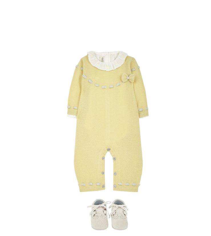 Baby Girl - 100% Cashmere Romper With Contrasting In And Out Detail And Bow
