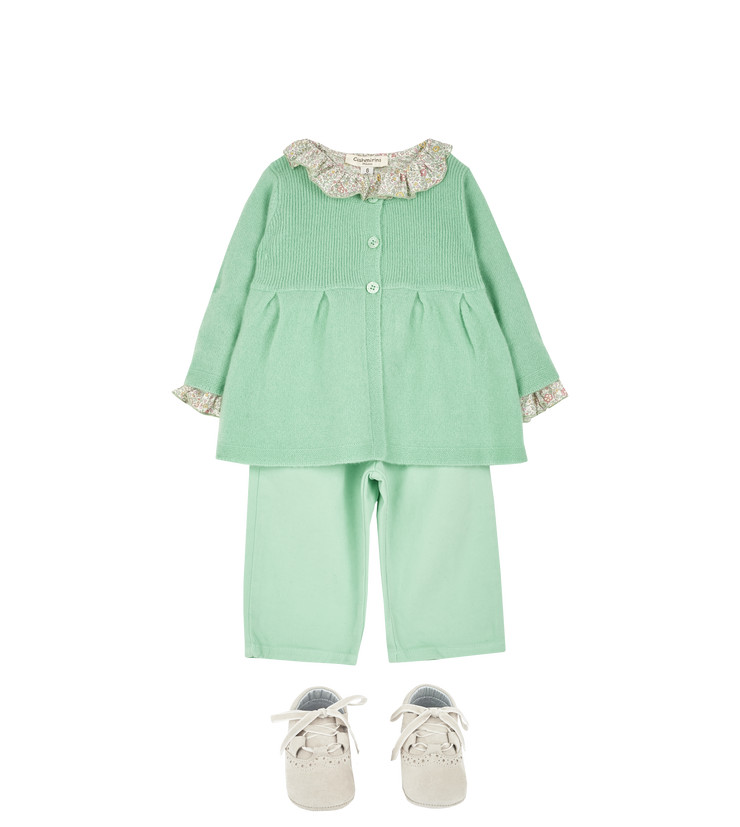 Baby Girl - Callie 100% Cotton Blouse with Pleats and Ruffle Collar