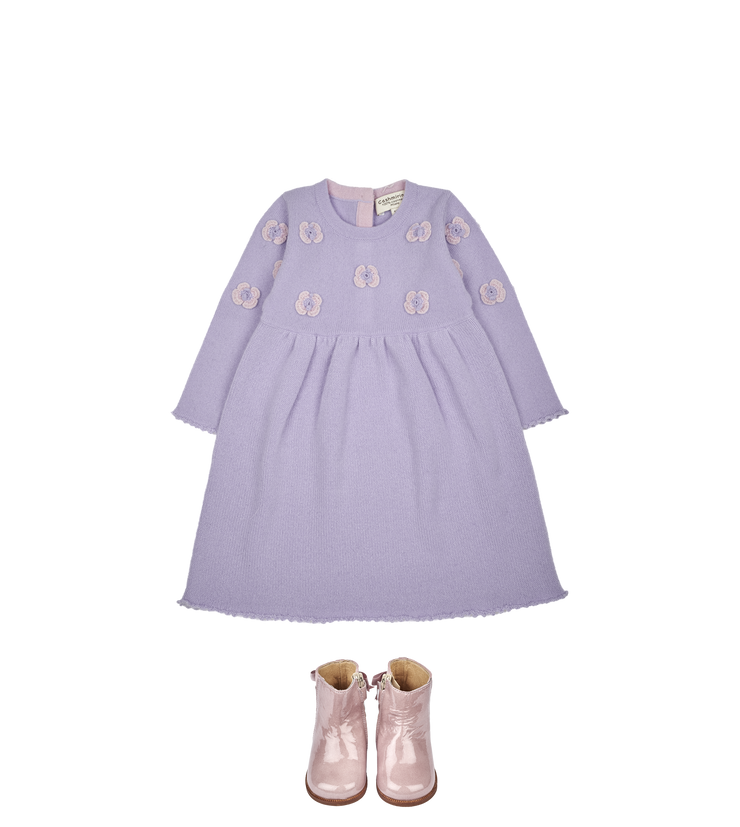 Baby Girl - Anna Cashmere Fairy Dress with Crochet Butterfly Detail