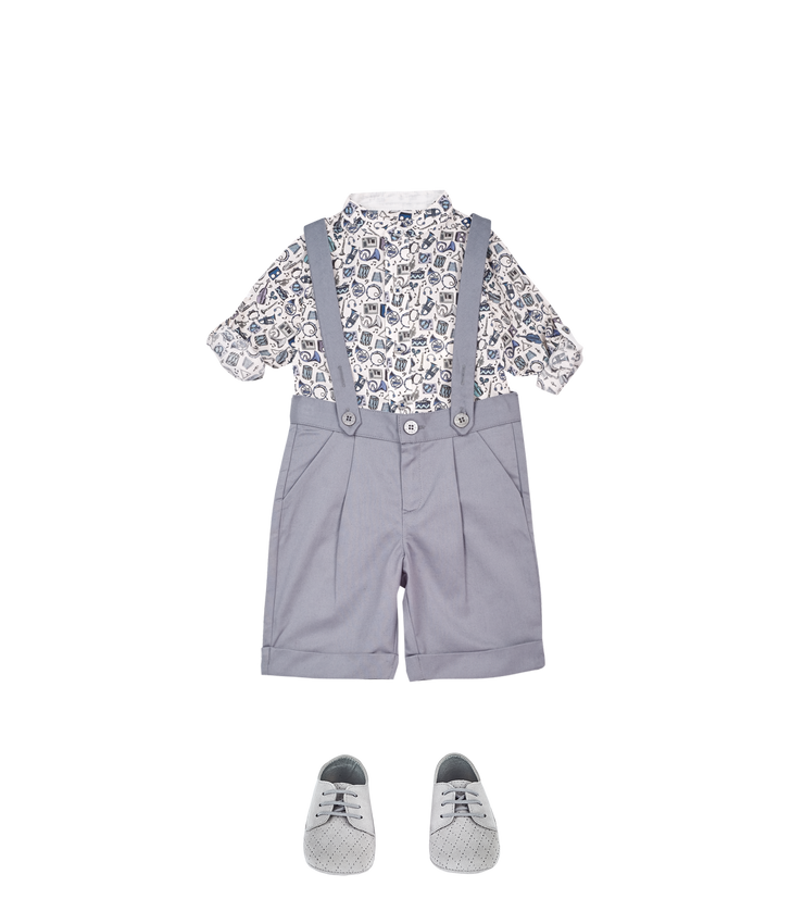 Baby Boy - Mika 100% Cotton Grandad Collar Shirt With Internal Contrast