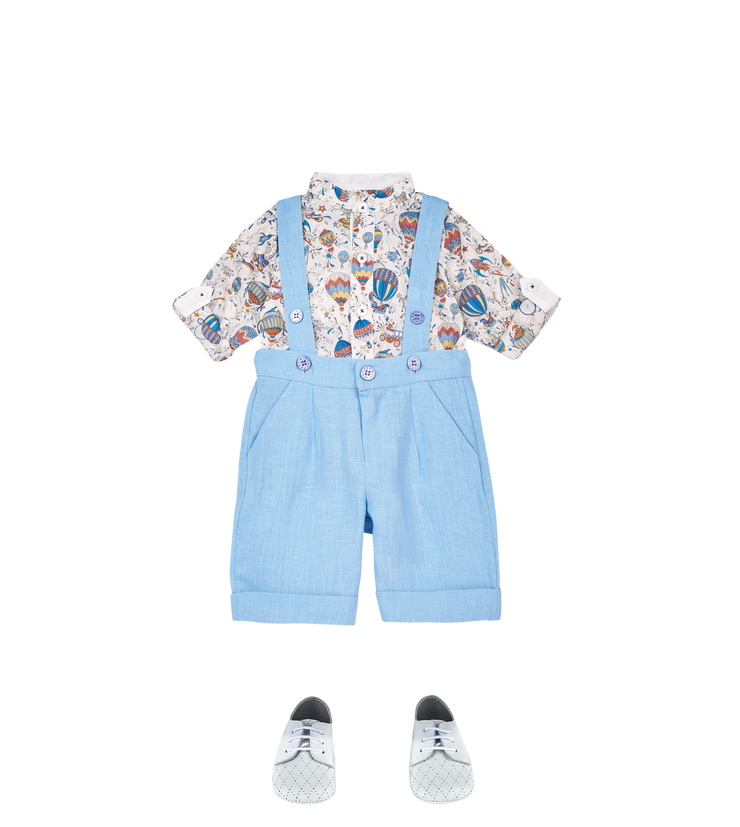 Baby Boy - Mika Cotton Grandad Collar Shirt With Internal Contrast