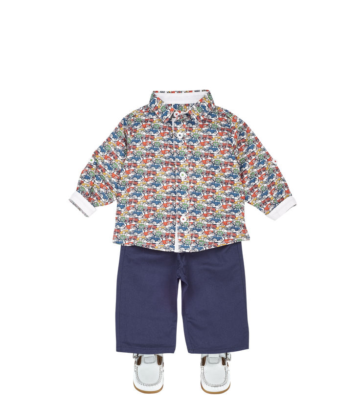 Baby Boy - Oliver 100% Cotton Classic Collar Shirt With Travel Prints
