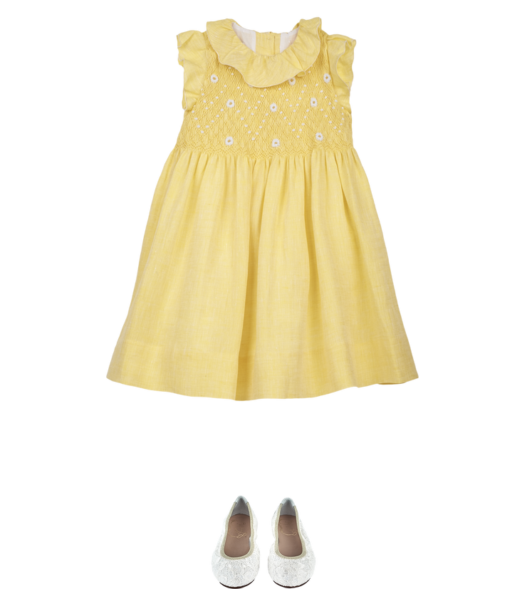 Girl - Daisy Linen Smocked Dress With Ruffle Collar