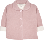 Baby Girl - Harper Alpaca Coat Cardigan With Peter Pan Collar And Internal Contrast