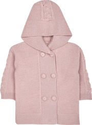 Baby Girl - Logan Alpaca Double Breasted Coat Cardigan With Cable Knit Detail
