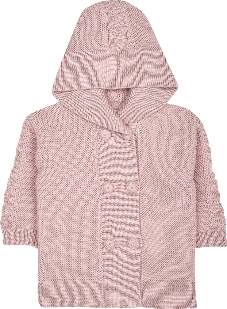 Baby Girl - Logan 100% Alpaca Double Breasted Coat Cardigan With Cable Knit Detail