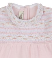 Baby Girl - Cotton Smocked Baby Grow With Floral Detail, Ruffle Sleeves and Collar