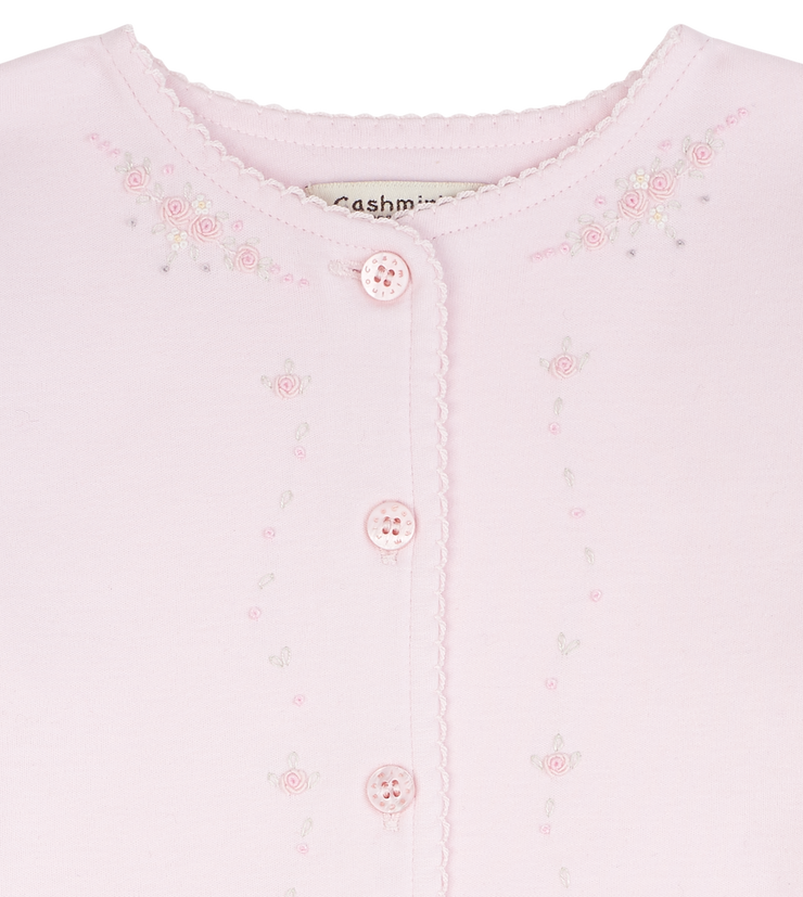 Baby Girl - 100%  Pima Cotton Babygro With Embroidered Floral Detail