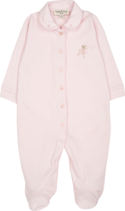 Baby Girl - 100% Pima Cotton Colour Contrast Babygro With Bear Embroidery