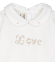 Baby Girl - 100% Pima Cotton Babygro With Love Embroidered Roses