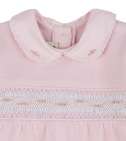 Baby Girl - Cotton Knitted Baby Grow With Smocked Detail