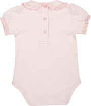 Baby Girl - Cotton Smocked Bodysuit With Puff Sleeves And Peter Pan Collar
