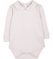 Baby Girl - 100% Pima Cotton Long Sleeve Bodysuit With Rose Embroidery
