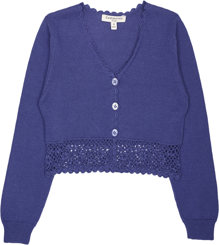Girl - Tiana Cotton V-neck Cardigan With Crochet Details