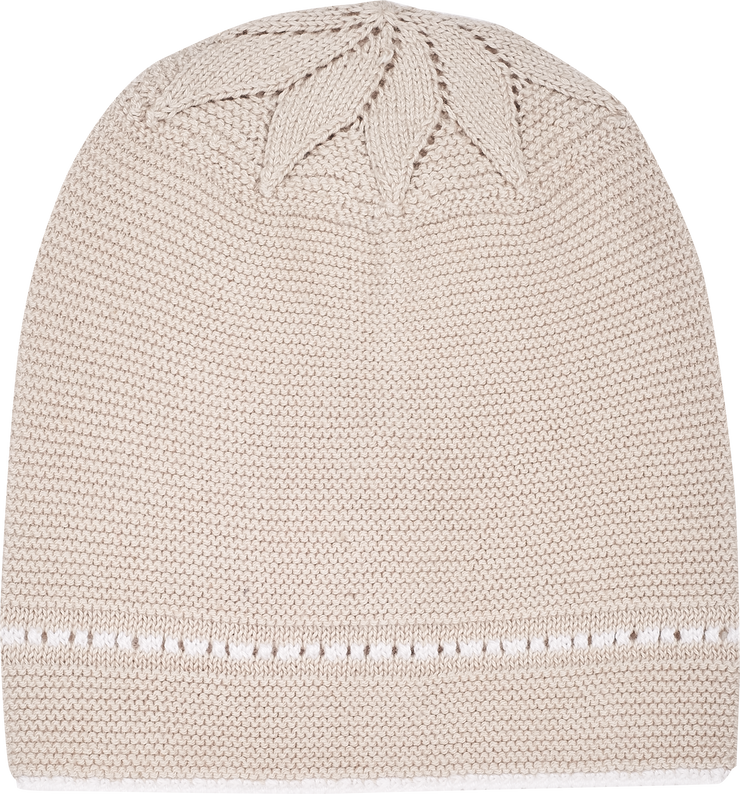 Baby Girl - Cotton Hat With Contrasting Borders And Crochet Detail