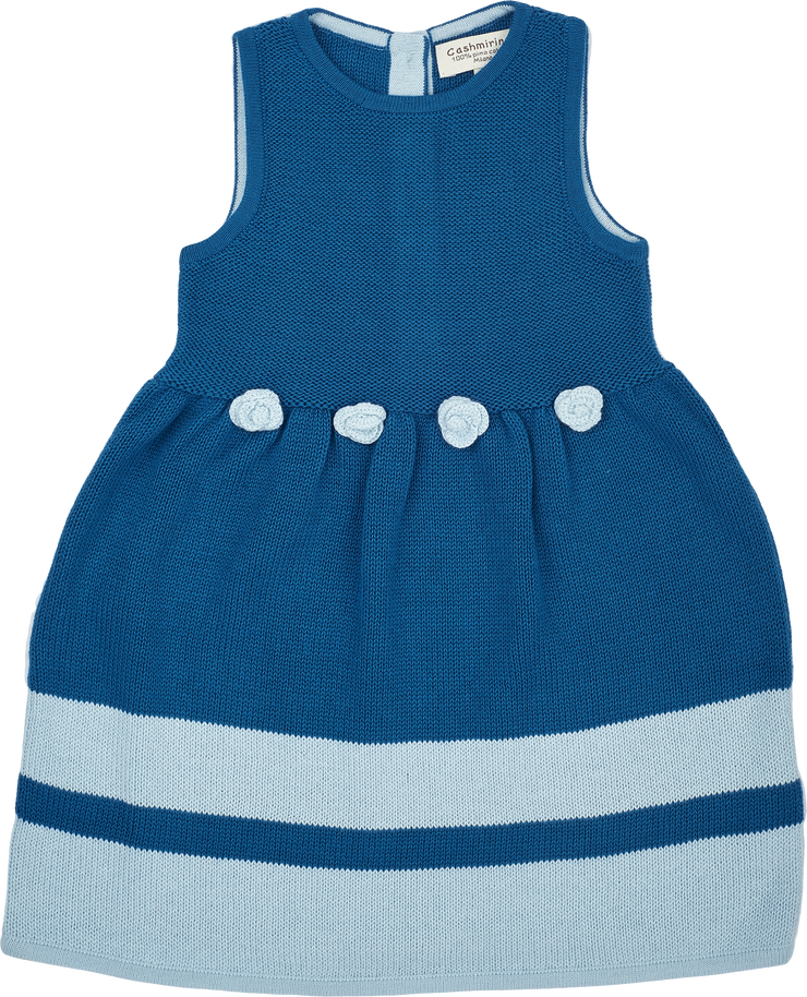 Baby Girl - Cotton Sleeveless Dress With Stripe Border And Crochet Flowers