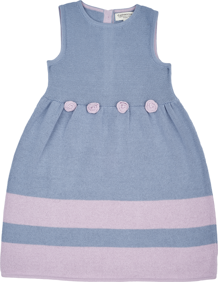 Girl - Cotton Sleeveless Dress With Stripe Border And Crochet Flowers