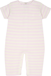 Baby Girl - Cotton Candy Striped Romper With Short Sleeves