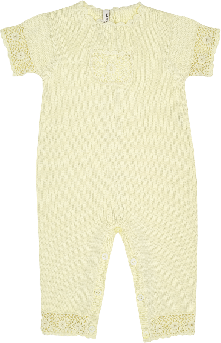 Baby Girl - Cotton Romper With Crochet Borders And Pocket