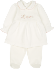 Baby Girl - 100% Pima Cotton Baby Doll Top and Leggings Set with Love Motif