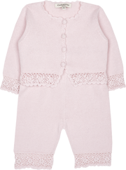 Baby Girl - Sandra 100% Cotton Round Neck Cardigan and Pull On Pants with Crochet Details Set