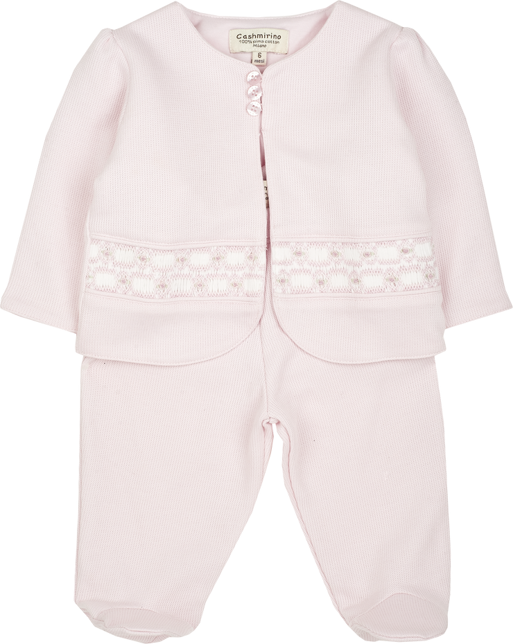 Baby Girl - 100% Pima Cotton Shrug Style Cardigan With Buttons, Rose Smocked Detail And Leggings Set