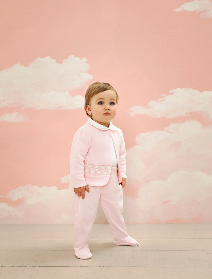 Baby Girl - Cotton Shrug Style Cardigan With Buttons, Rose Smocked Detail And Leggings Set